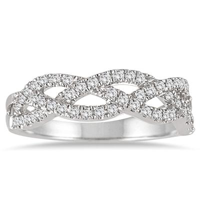 1/4 Carat Diamond Twist Band in 14K White Gold