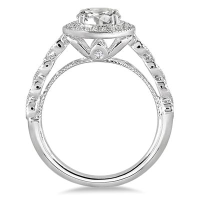1 1/3 Carat TW Diamond Halo Antique Engagement Ring in 14K White Gold