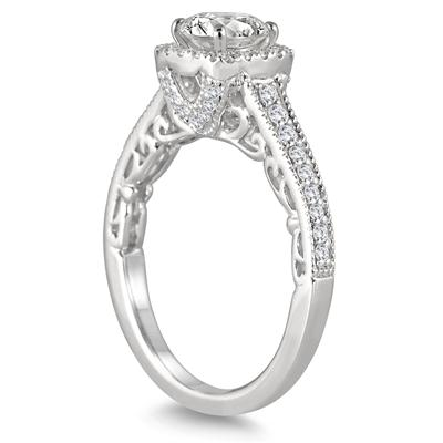 1 3/8 Carat Diamond Halo Engagement Ring in 14K White Gold