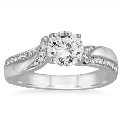 1 1/8 Carat TW Diamond Engagement Ring in 14K White Gold