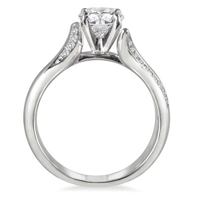1 1/8 Carat Diamond Engagement Ring in 14K White Gold