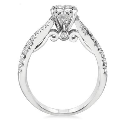 1 1/2 Carat Twisted Split Shank Diamond Engagement Ring in 14K White Gold