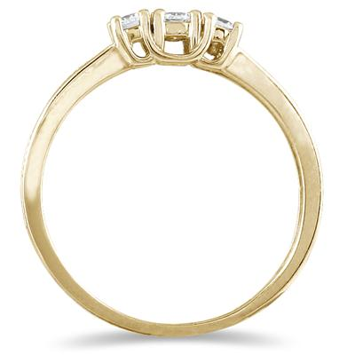 1/4 Carat Diamond 3 stone Ring in 10K Yellow Gold