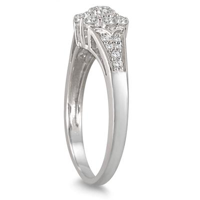 1/2 Carat Diamond Halo Engagement Ring in 10K White Gold