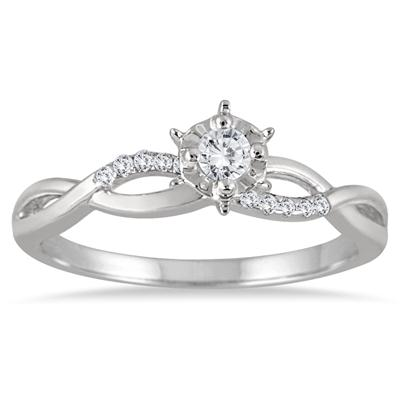 1/3 Carat Petitie Diamond Engagement Ring in 10K White Gold