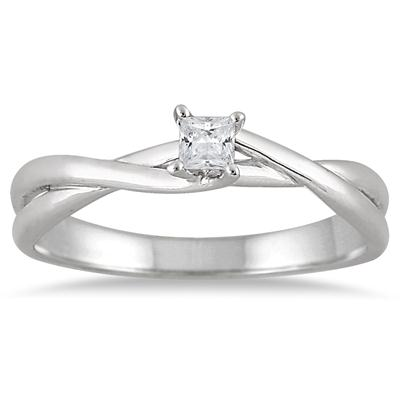 1/10 Carat Princess Diamond Solitaire Braided Ring in 10K White Gold