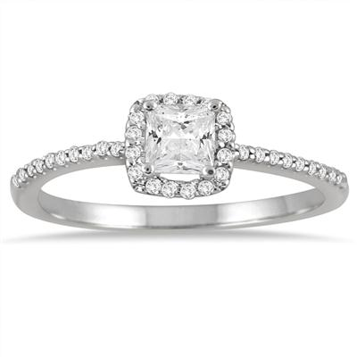 5/8 Carat Princess Cut Halo Diamond Engagement Ring in 10K White Gold