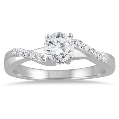 3/5 Carat Diamond Engagement Ring in 10K White Gold