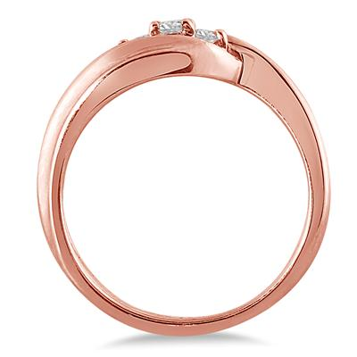 1/8 Carat TW Diamond Three Stone Ring in 10K Rose Gold