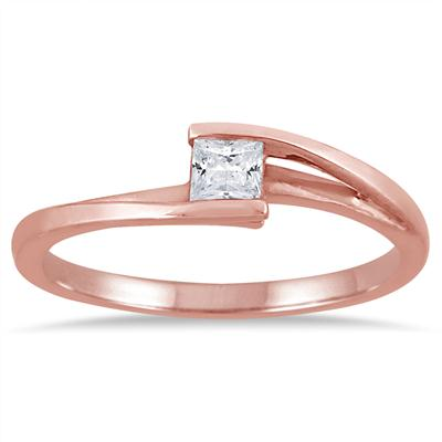 1/4 Carat Princess Cut Diamond Solitaire Ring in 10K Rose Gold