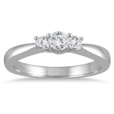 1/3 Carat Three Stone Diamond Ring in 10K White Gold
