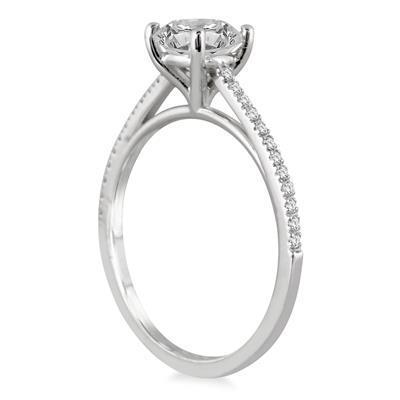 1 1/6 Carat TW Cathedral Engagement Ring in 14K White Gold