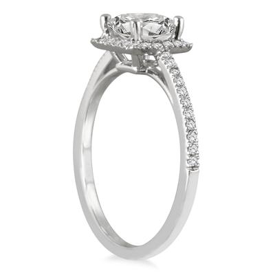 1 Carat Princess Cut Diamond Halo Engagement Ring in 14K White Gold