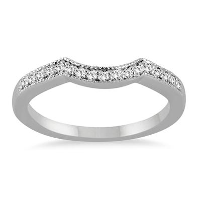 1/8 Carat Diamond Curved Wedding Band in 14K White Gold