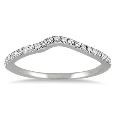 1/6 Carat Diamond Curved Wedding Band in 14K White Gold