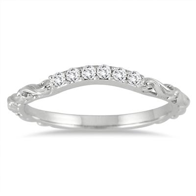 1/6 Carat Diamond Antique Wedding Band in 14K White Gold