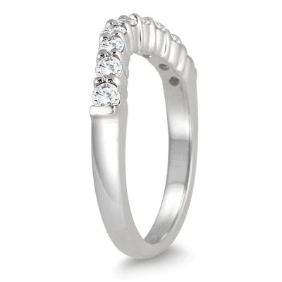 1/2 Carat Diamond Curve Wedding Band in 10K White Gold