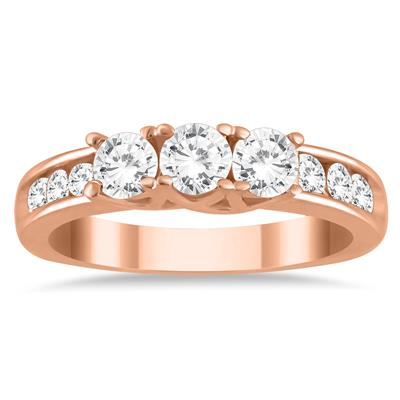 1.00 Carat Diamond Three Stone Ring in 10K Rose Gold