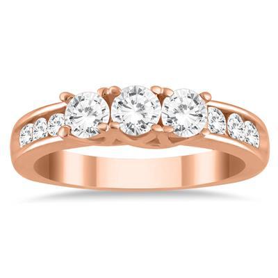 1 Carat TW Diamond Three Stone Ring in 10K Rose Gold