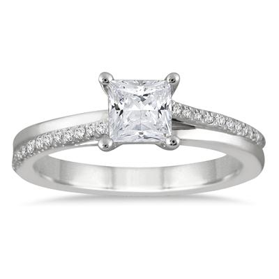 7/8 Carat Princess Diamond Engagement Ring in 14K White Gold