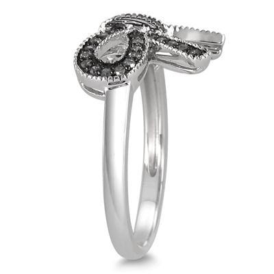 1/4 Carat Black Diamond Ribbon Ring in .925 Sterling Silver