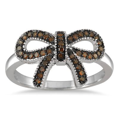 1/4 Carat Champagne Diamond Ribbon Ring in .925 Sterling Silver