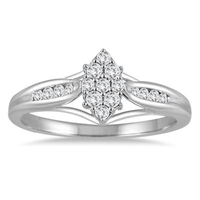 1/4 Carat Diamond Marquise Cluster Ring in 14K White Gold