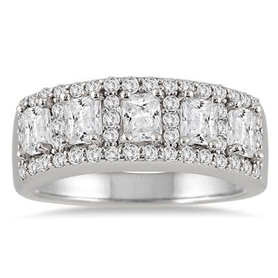 1 3/4 Carat Five Stone Radiant Cut Diamond Ring in 14K White Gold