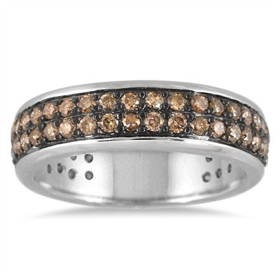 1 Carat Champagne Diamond Band in .925 Sterling Silver