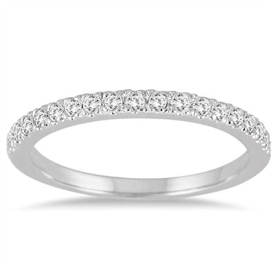 1/3 Carat Diamond Wedding Band in 14K White Gold