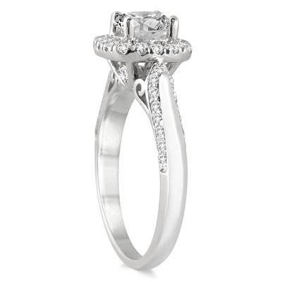 1 1/4 Carat Diamond Halo Engagement Ring in 14K White Gold