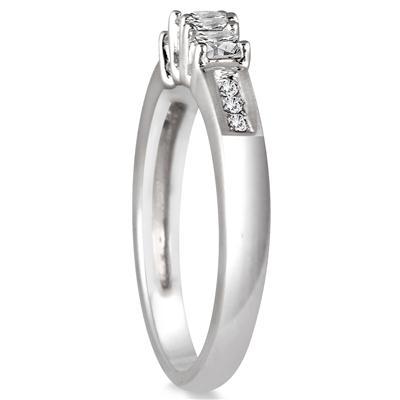 1/2 Carat Diamond Three Stone Ring in 10K White Gold