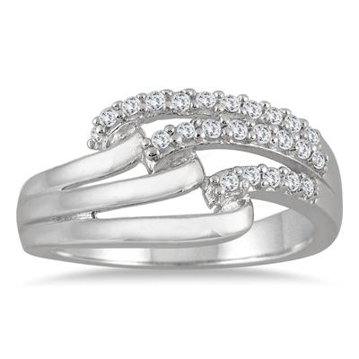 1/4 Carat Diamond Split Shank Band in 10K White Gold