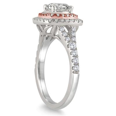 1 1/2 Carat Diamond Halo Engagement Ring in 14K Rose and White Gold