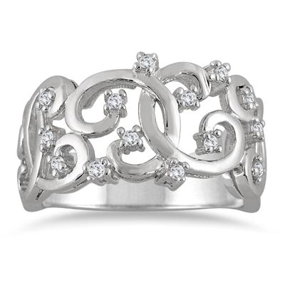 1/4 Carat Antique Diamond Band in 10K White Gold