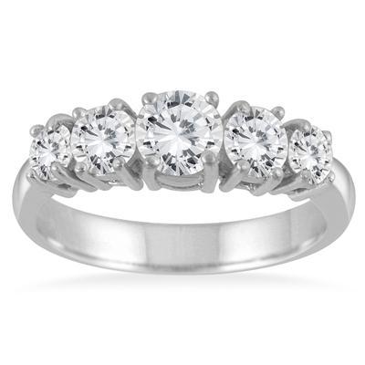 1 1/4 Carat TW 5 Stone White Diamond Ring in 14K White Gold (K-L Color, I2-I3 Clarity)