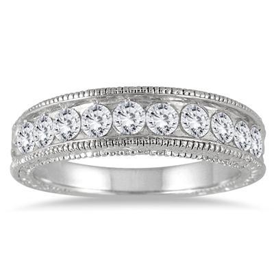 1 Carat Diamond Engraved Antique Ring in 14K White Gold