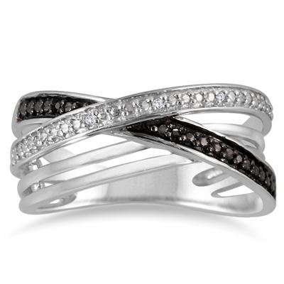 Genuine Black and White Diamond Split Twist Band in .925 Sterling Silver