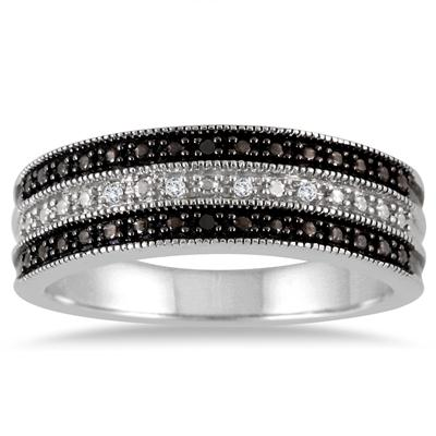 Genuine Black and White Diamond Band in .925 Sterling Silver