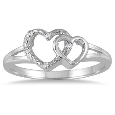 Diamond Accent Heart Link Ring