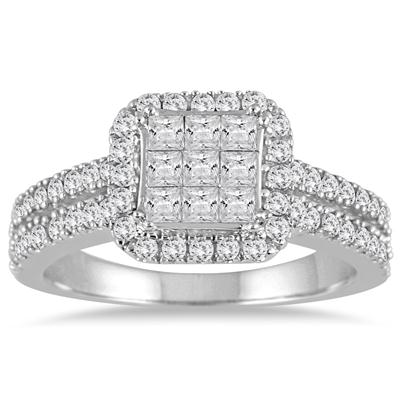 1 Carat Princess Diamond Halo Split Shank Ring in 10K White Gold