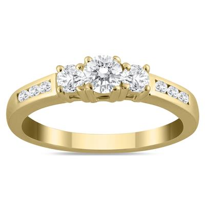 1/2 Carat TW Diamond Three Stone Ring in 10K Yellow Gold (K-L Color, I2-I3 Clarity)