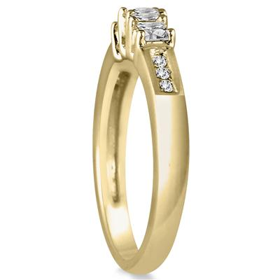 1/2 Carat Diamond Three Stone Ring in 10K Yellow Gold