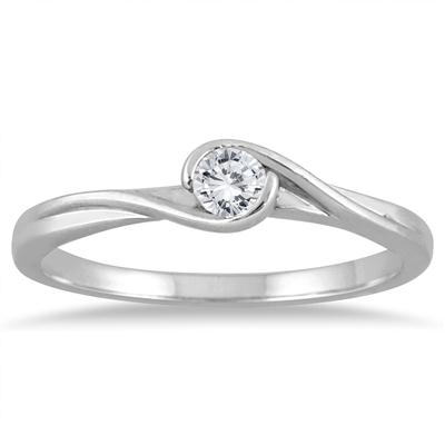1/6 Carat Diamond Solitaire Wrap Ring in 10K White Gold