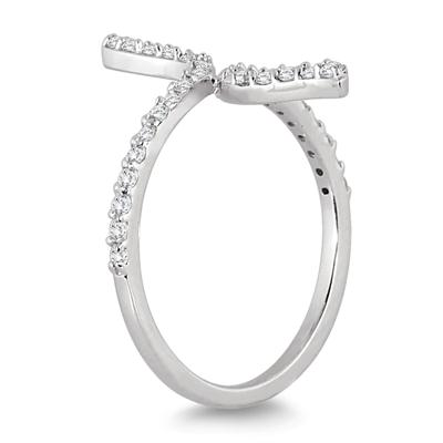 3/8 Carat TW Diamond Long Bypass Ring in 14K White Gold