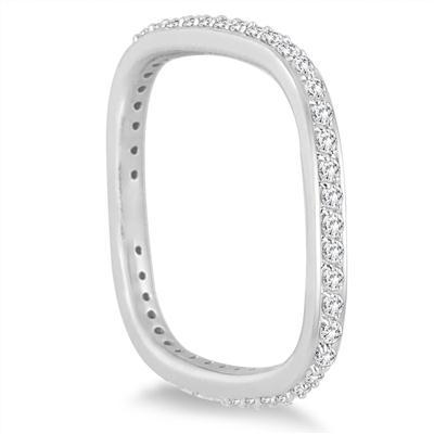 1/2 Carat TW Square Eternity Euro Shank Ring in 14K White Gold