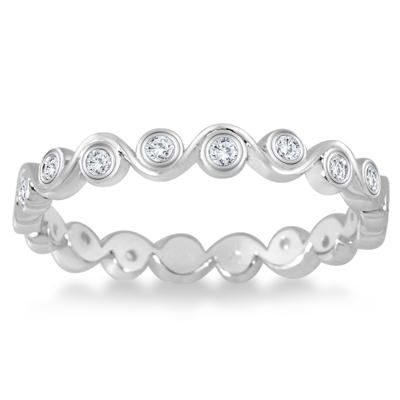 1/4 Carat TW Diamond Bezel Wave Eternity Ring in 14K White Gold