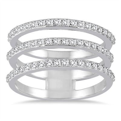 3/5 Carat TW Triple Row Diamond Ring in 14K White Gold