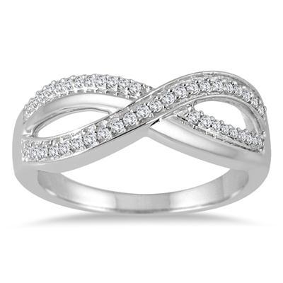 1/5 Carat TW Diamond Infinity Fashion Ring in 10K White Gold