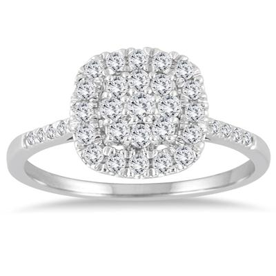 1/3 Carat TW Diamond Cluster Ring in 14K White Gold